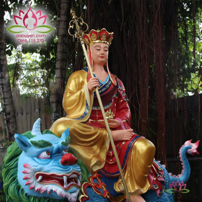 tượng địa tạng vương bồ tát cưỡi đề thính composite