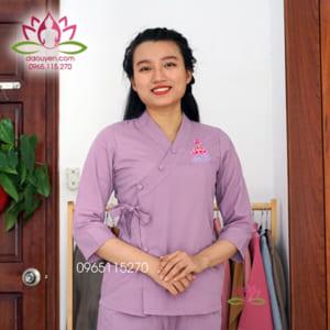 Đồ lam Phật tử cổ xéo màu tím thêu sen, vải kate cao cấp