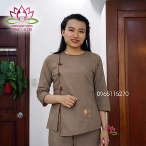 Đồ Lam Phật Tử Đi Chùa Cho Nữ Cổ Tròn