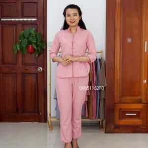 Đồ lam, áo lam Phật tử cho nữ cổ tàu thêu sen màu hồng