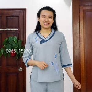 Đồ Lam Phật Tử Đi Chùa trang nhã Cho Nữ Cổ Tim Bầu màu xanh