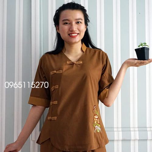 Áo Lam, Đồ lam Phật tử đi chùa 5 nút cài màu nâu